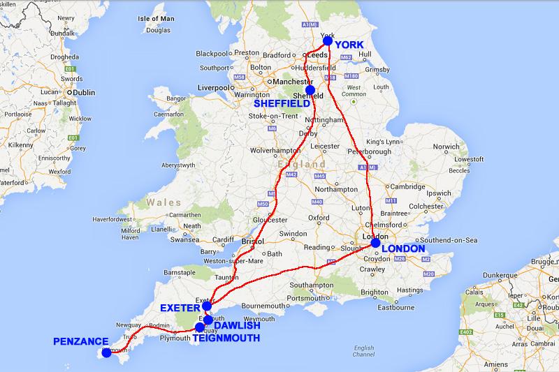 Cartina Cornovaglia.Ferrovie It Da Londra A Londra Via Devon Cornovaglia E Yorkshire